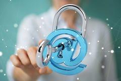 Mulher de negócios que corta a rendição do sistema de segurança 3D Imagens de Stock Royalty Free