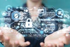 Mulher de negócios que corta a rendição do sistema de segurança 3D Imagem de Stock