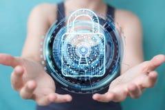 Mulher de negócios que corta a rendição do sistema de segurança 3D Fotografia de Stock