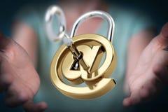 Mulher de negócios que corta a rendição do sistema de segurança 3D Imagem de Stock Royalty Free