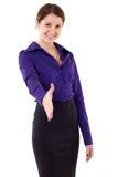 Mulher de negócios que dá a mão para o aperto de mão fotografia de stock royalty free