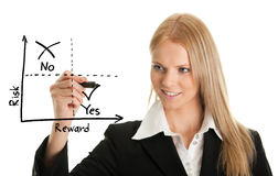 Mulher de negócios que desenha um diagrama da risco-recompensa fotografia de stock