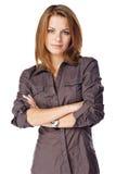 Mulher de negócios que dobra seus braços Imagem de Stock
