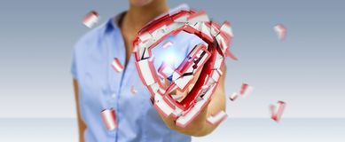 Mulher de negócios que enfrenta a rendição da ruptura 3D da segurança Imagens de Stock Royalty Free