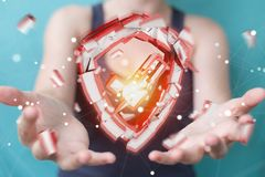 Mulher de negócios que enfrenta a rendição da ruptura 3D da segurança Imagens de Stock