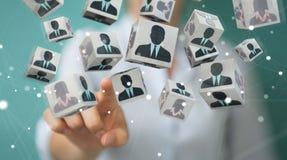 Mulher de negócios que escolhe o candidato para uma rendição do trabalho 3D Imagens de Stock