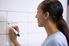 Mulher de negócios que escreve dentro na placa apagável Foto de Stock