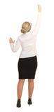 Mulher de negócios que está com ideias traseiras do negócio do desenho na parede Foto de Stock