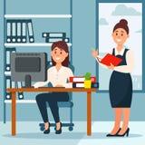 Mulher de negócios que estão em seu subordinado e que fazem anotações, local de trabalho do escritório com tabela e biblioteca, v ilustração do vetor