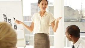 Mulher de negócios que explica a carta de barra a seu pessoal na apresentação vídeos de arquivo