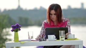 Mulher de negócios que faz a compra em linha fora vídeos de arquivo