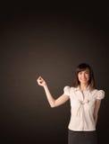 Mulher de negócios que faz gestos Fotografia de Stock