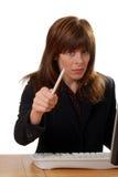 Mulher de negócios que faz a pergunta Imagem de Stock Royalty Free
