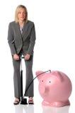 Mulher de negócios que funde - acima do banco Piggy Foto de Stock Royalty Free