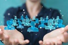Mulher de negócios que guarda e que toca em 3D que rende o grupo de pe azul Imagem de Stock Royalty Free