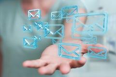 A mulher de negócios que guarda e que toca na flutuação envia por correio eletrónico a rendição 3D Imagem de Stock