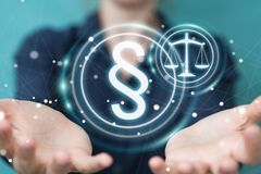 Mulher de negócios que guarda e que toca no símbolo da lei da rendição 3D Imagens de Stock