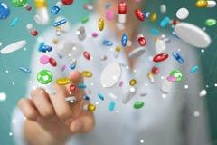 Mulher de negócios que guarda e que toca nos comprimidos de flutuação 3D da medicina com referência a Imagens de Stock