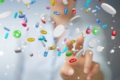 Mulher de negócios que guarda e que toca nos comprimidos de flutuação 3D da medicina com referência a Imagem de Stock