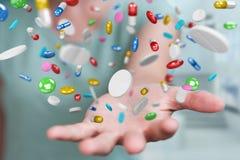 Mulher de negócios que guarda e que toca nos comprimidos de flutuação 3D da medicina com referência a Fotos de Stock