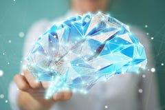 Mulher de negócios que guarda o cérebro humano do raio X digital em sua mão 3D r Foto de Stock Royalty Free