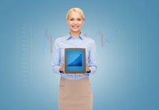 Mulher de negócios que guarda o PC da tabuleta com gráfico Foto de Stock Royalty Free