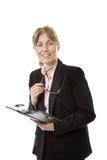 Mulher de negócios que guarda um Filofax foto de stock royalty free