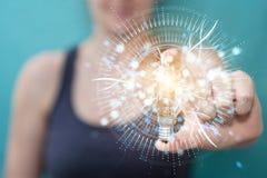 Mulher de negócios que guarda um lighbulb com conexões em sua mão 3D ilustração stock