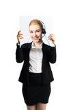 Mulher de negócios que guarda uma imagem dsi mesma, mostrando a atitude positiva como uma fachada fotos de stock