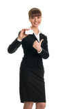 Mulher de negócios que guardara um cartão imagens de stock royalty free