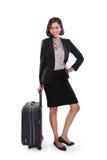 Mulher de negócios que levanta com saco do curso, comprimento completo foto de stock royalty free