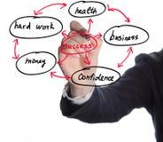 Mulher de negócios que mostra a estrutura do sucesso comercial Fotografia de Stock Royalty Free