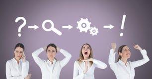 Mulher de negócios que pensa em ordem com ideias e ícones do processo do clique Imagem de Stock