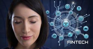 A mulher de negócios que pensa Fintech com vários ícones do negócio conecta Fotografia de Stock Royalty Free