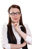 Mulher de negócios que pensa sobre o novo conceito Fotografia de Stock