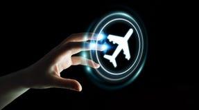 Mulher de negócios que registra seu voo com aplicação digital moderna Fotos de Stock Royalty Free