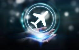 Mulher de negócios que registra seu voo com aplicação digital moderna Fotos de Stock