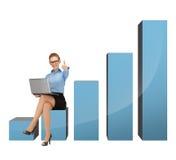 Mulher de negócios que senta-se na carta 3d grande Imagens de Stock Royalty Free