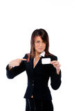 Mulher de negócios que shoving um cartão que aponta a Imagens de Stock