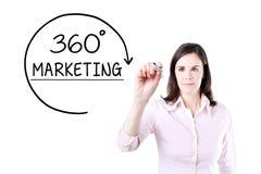 Mulher de negócios que tira uns 360 graus que introduzem no mercado o conceito na tela virtual Fotografia de Stock Royalty Free