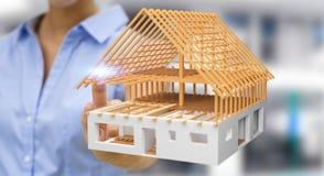 Mulher de negócios que toca em 3D que rende a casa inacabado do plano com h Fotografia de Stock