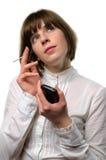 Mulher de negócios que trabalha com um PDA Imagens de Stock Royalty Free
