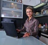 Mulher de negócios que trabalha em casa fotografia de stock