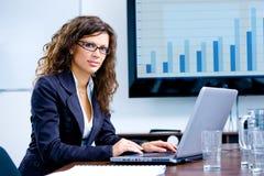 Mulher de negócios que trabalha no computador foto de stock royalty free