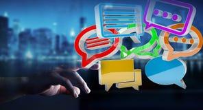 Mulher de negócios que usa a conversação colorida digital da rendição 3D mim Imagem de Stock Royalty Free