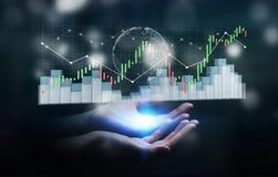 A mulher de negócios que usa 3D digital rendeu o stats da bolsa de valores e Foto de Stock Royalty Free