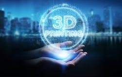 Mulher de negócios que usa 3D que imprime a rendição digital do holograma 3D ilustração stock