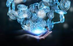 Mulher de negócios que usa a esfera azul do arobase digital para surfar em inter Imagens de Stock Royalty Free