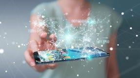 Mulher de negócios que usa o código binário digital no rende do telefone celular 3D Imagens de Stock Royalty Free