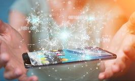 Mulher de negócios que usa o código binário digital no rende do telefone celular 3D Fotos de Stock Royalty Free